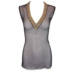 S/S 2001 Dolce & Gabbana Crystal & Bead Embellished Black Fishnet Tunic Top