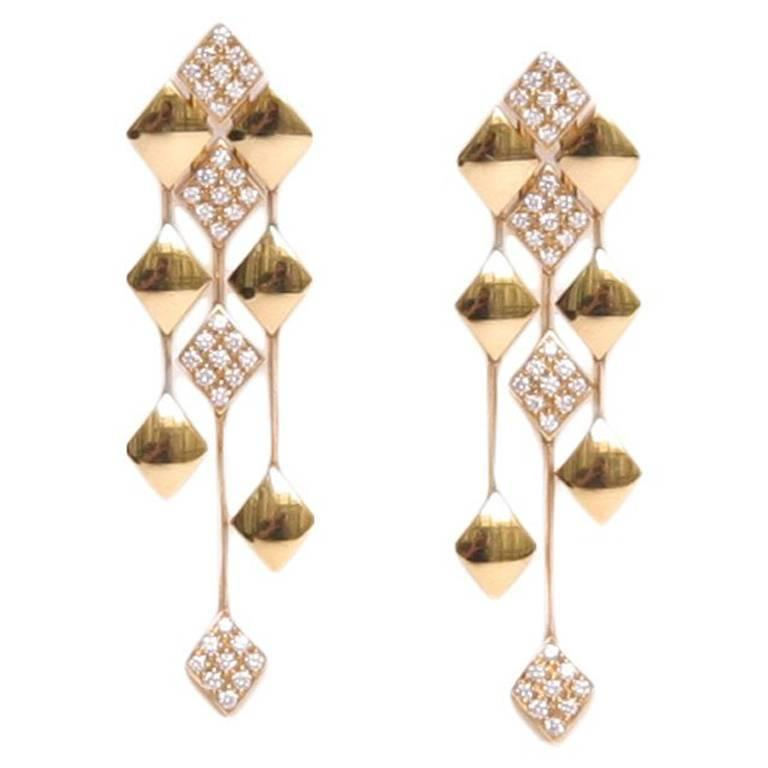 chanel earrings in yellow gold 18k and diamonds for sale