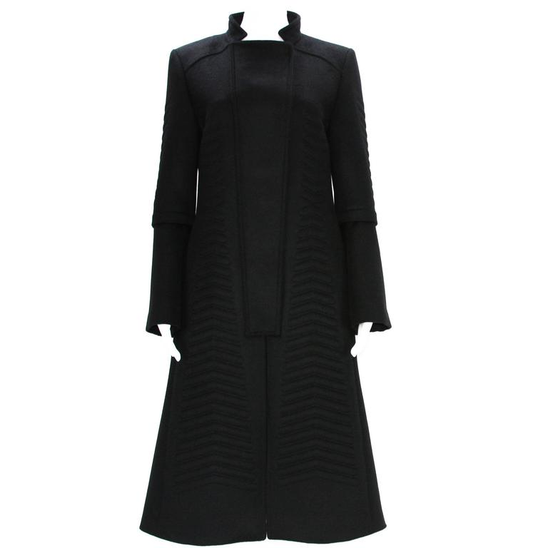 A/W 2004 Tom Ford for Gucci Chevron Quilting Black Angora Wool Coat It 44 - US 8