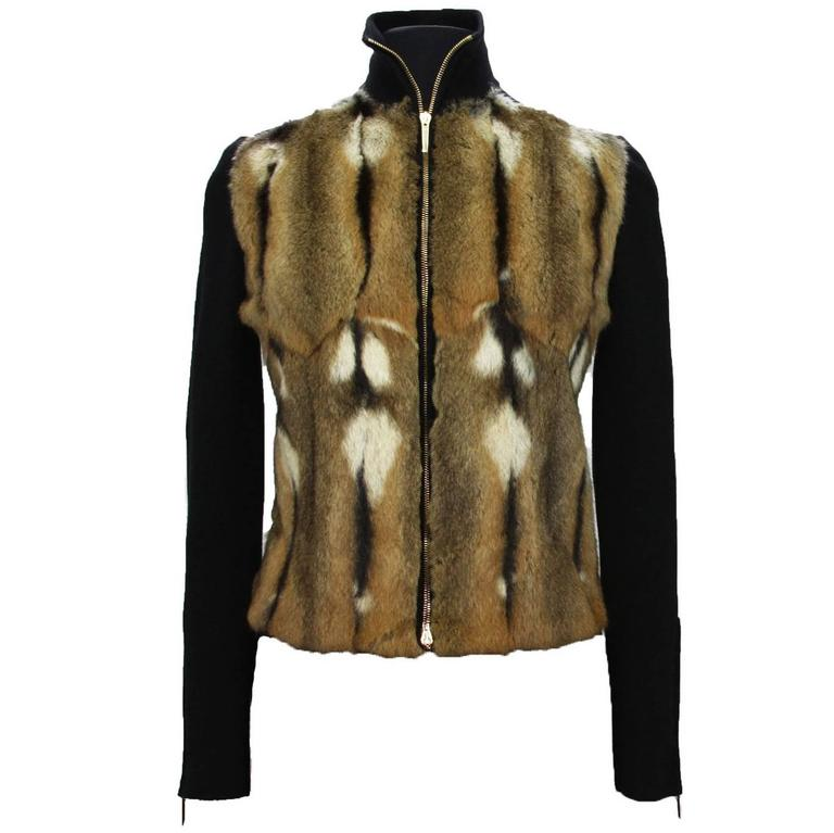 New TOM FORD for GUCCI F/W 2000 Fur Wool Silk Cashmere Cardigan Sweater Jacket S