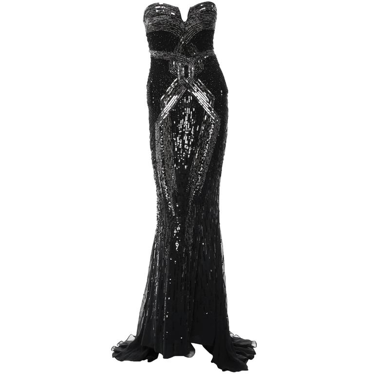 New Roberto Cavalli Fully Beaded Silk Corset Black Dress Gown It 40 Us 4