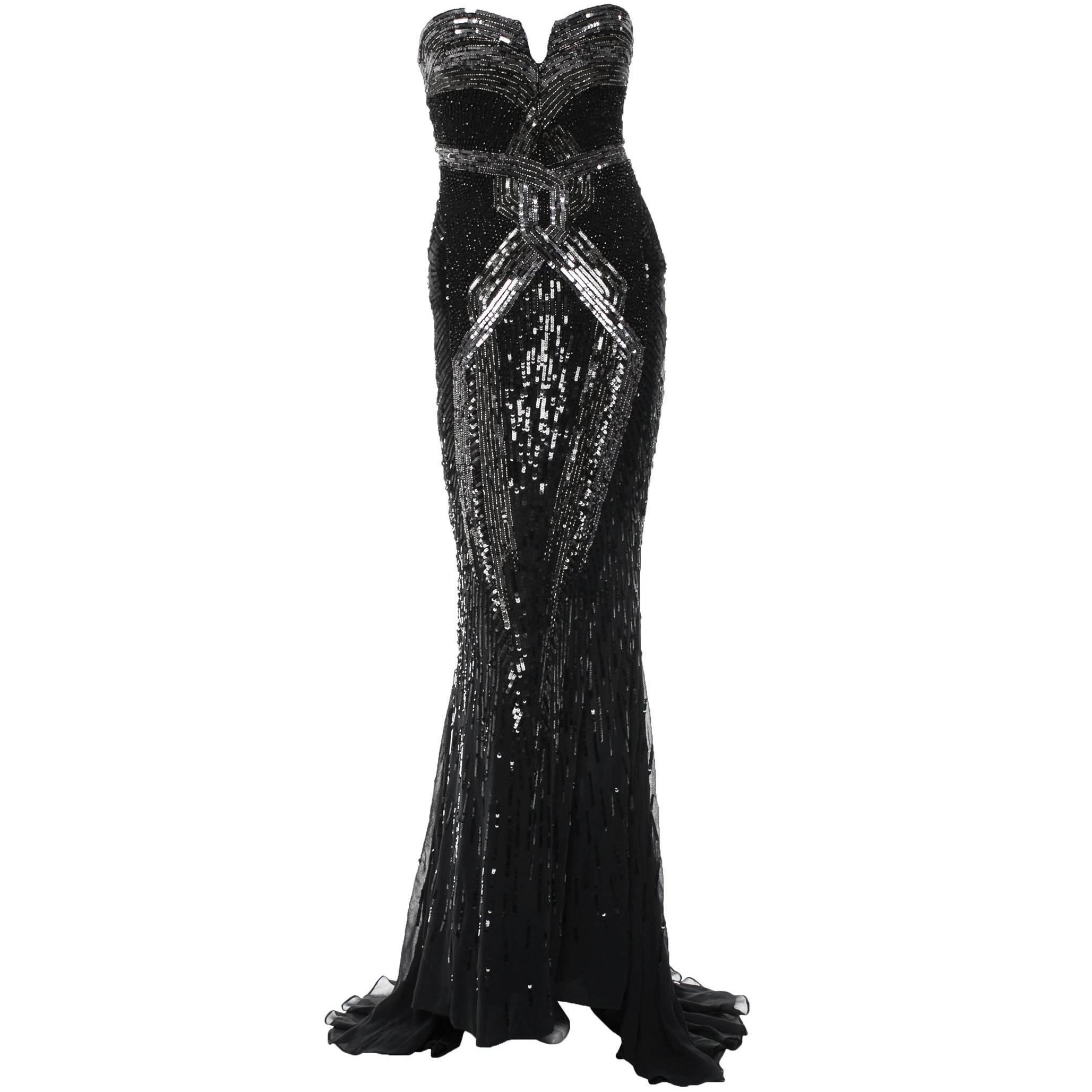 New Roberto Cavalli Fully Beaded Silk Corset Black Dress Gown It.40 - US 4