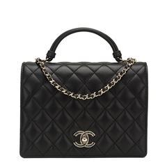 Chanel Black Lambskin Handle Tied Flap Bag