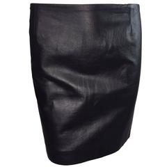 1990's Atelier Versace by Gianni Black Leather Mini Skirt M