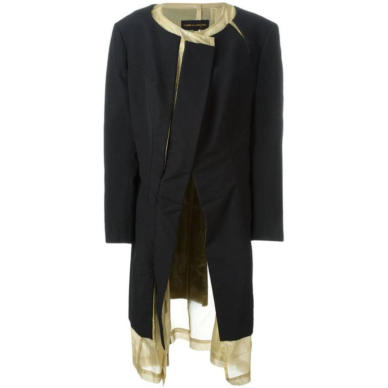 1997 COMME des GARÇONS Rei Kawakubo black and gold layered coat jacket 1