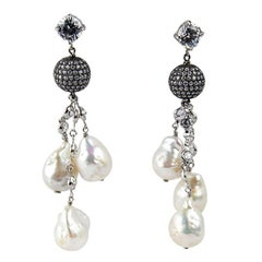 Pearl and CZ Sterling Silver Statement Drop Earrings