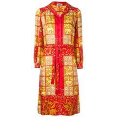 1970s Hermès silk baroque printed shirt dress