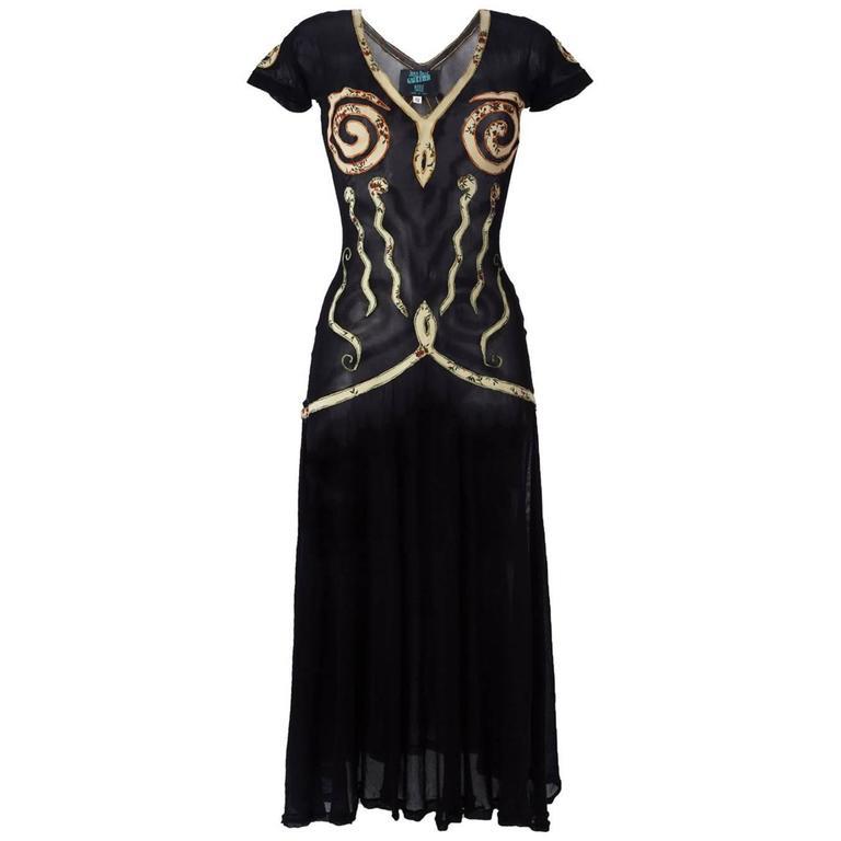 1989 JEAN PAUL GAULTIER appliqué sheer dress ( Vogue UK Madonna 1989 cover ) For Sale