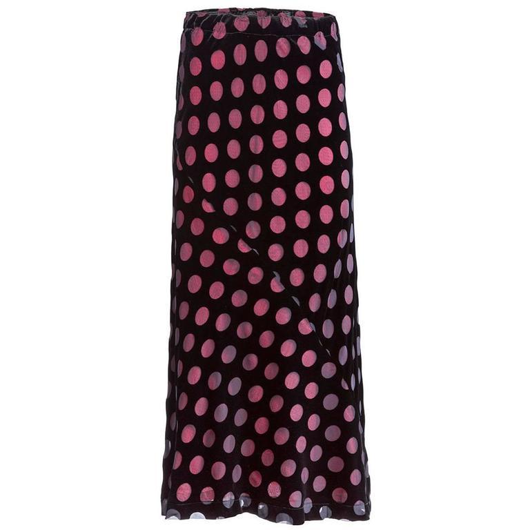820ae1d8e271 Comme des Garçons Velvet Polka-Dot Skirt For Sale at 1stdibs