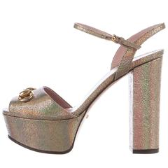 Gucci New Metallic Leather Gold Horsebit Mary Jane Heels Sandals in Box