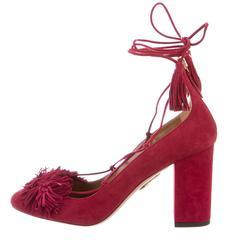 Aquazzura New Red Cashmere Suede Tassel Tie Up Sandals Pumps in Box