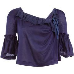 Tao Comme des Garçons Ruffle Sleeve Tie Back Top