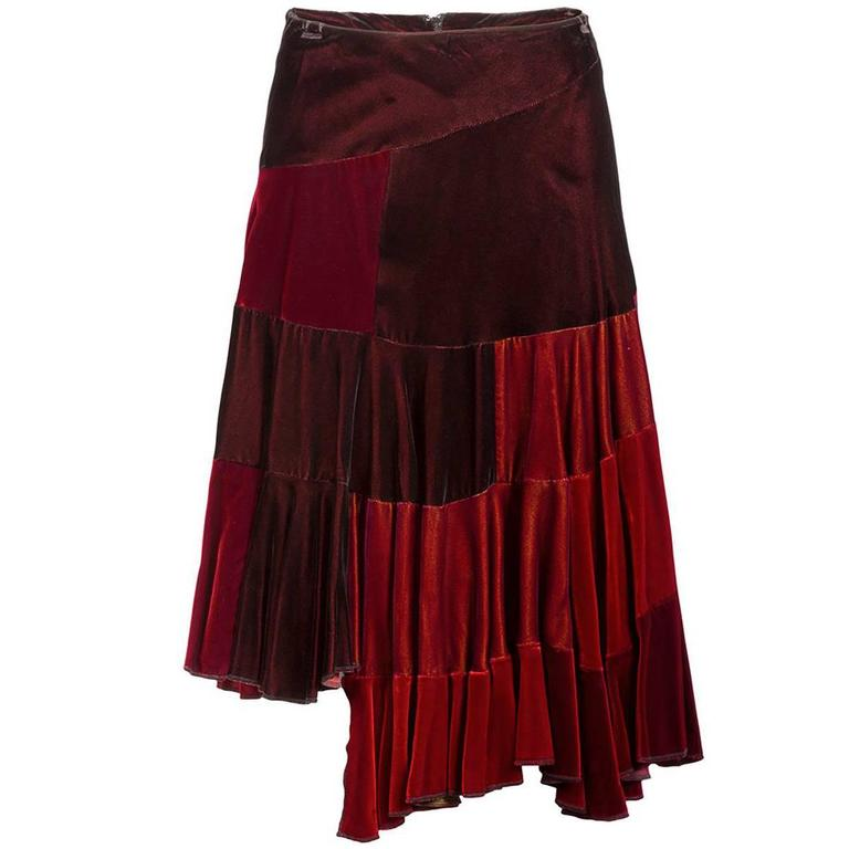 2731163d3d01 Comme des Garçons Red Velvet Asymmetric Patchwork Skirt For Sale at ...