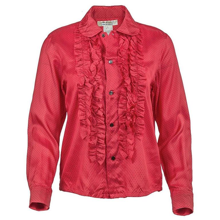Comme des Garçons Red Ruffled Shirt with Dots