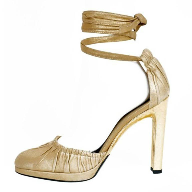 New Tom Ford for Gucci Gold Leather and Snakeskin Shoes Pumps 11B
