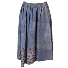 Comme des Garçons Washed Dusty Blue Leather Patch Skirt