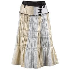 Tao Comme des Garçons Gold and Silver Pleated Wrap Skirt