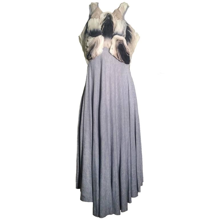 Alexander McQueen Grey Jersey Dress with Ombre Organdy Detail