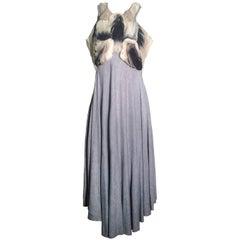 Alexander McQueen Grey Jersey Dress with Ombre Organdy Detail
