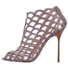 Sergio Rossi New Lavender Leather Cut Out Ankle Booties Sandals Heels in Box