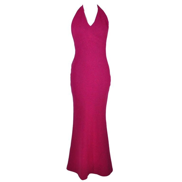 Christian Dior Halter Low Back Fuchsia Tweed Maxi Dress
