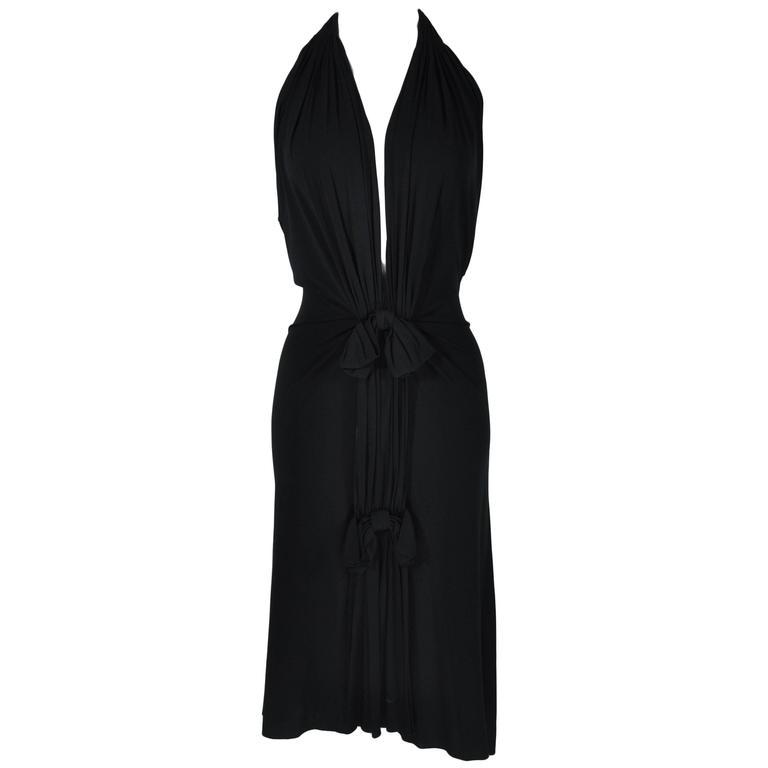 Christian Dior Black Jersey Halter V-neckline Dress