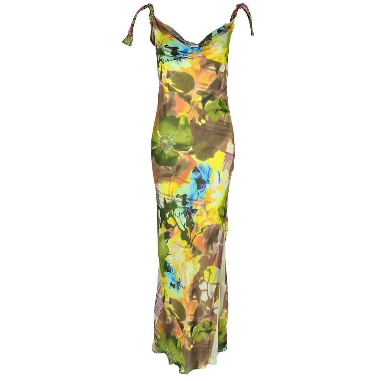 Christian Dior Multi-color Floral Printed Bias-cut Silk Maxi Dress 1