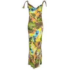 Christian Dior Multi-color Floral Printed Bias-cut Silk Maxi Dress