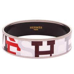 """Hermes """"Capitales"""" Printed Wide Enamel Bracelet PM (65)"""