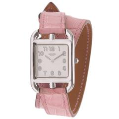 Hermes Cape Cod Watch PM Pink Alligator Double Tour Band