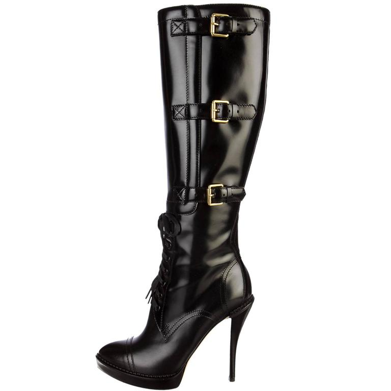 0062e576a5a New GUCCI Riddle Leather Lace-Up Buckle Platform Black Boots It.38.5 - US