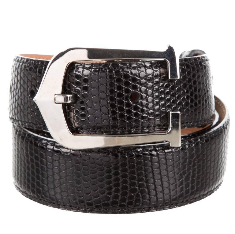 f21e2942e1b34 Cartier Men's Black Lizard Leather Silver Logo Buckle Dress Waist Belt