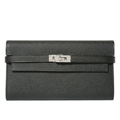 "Hermes ""Kelly"" Wallet Epsom Leather 89 Black Color PHW"