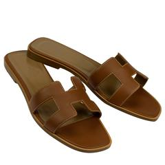 "Hermes Woman Sandals ""Oran"" Box Leather Gold with Ecru Stitching Color 7.5 Size"