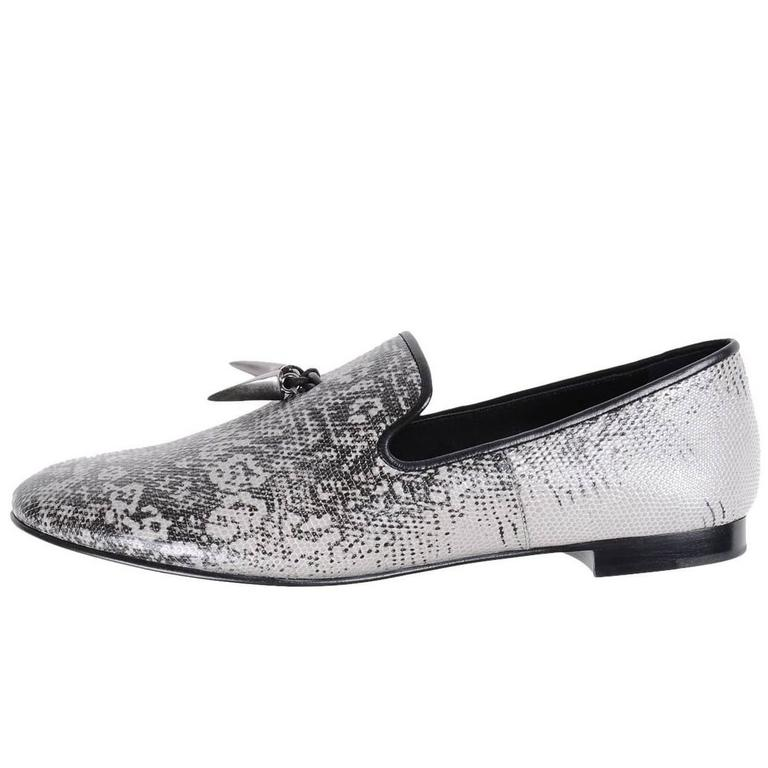 Giuseppe Zanotti New Men's Black White Silver Smoking Slippers Loafers in Box 1
