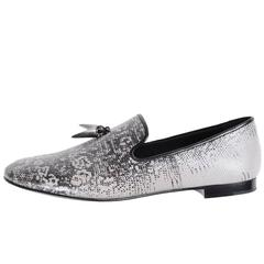 Giuseppe Zanotti New Men's Black White Silver Smoking Slippers Loafers in Box