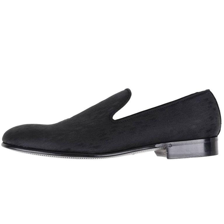 Dolce & Gabbana New Men's Black Patterned Smoking Slippers Loafers Shoes in Box 1