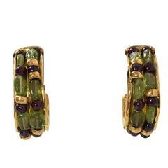 Goossens Paris Green & Red Gripoix Hoop Clip-On Earrings