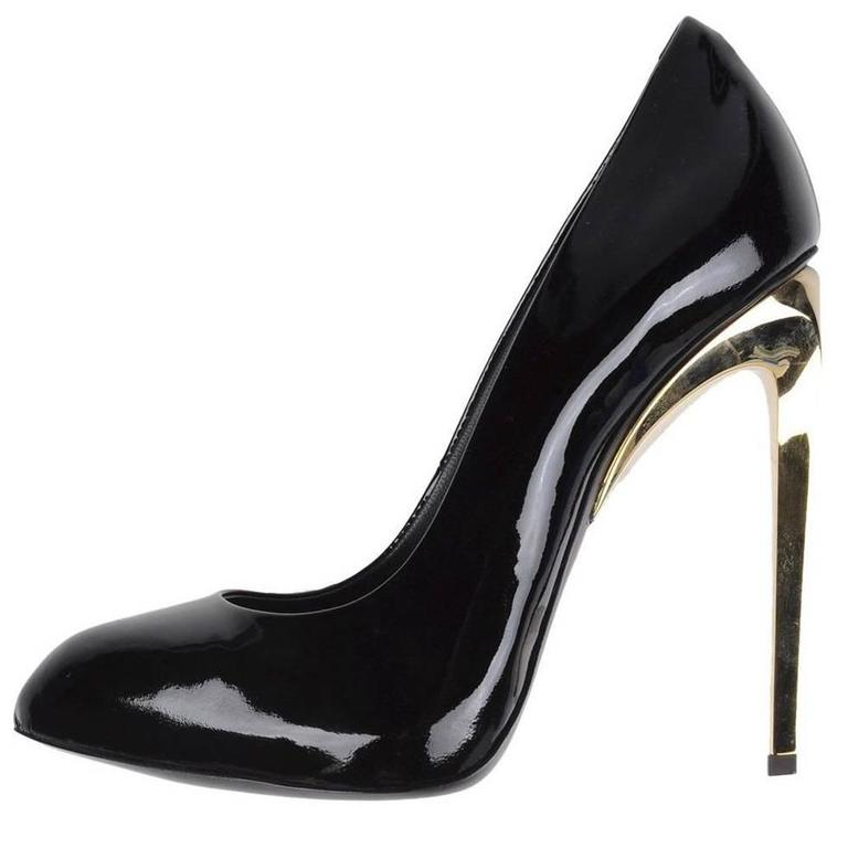 Giuseppe Zanotti New Black Patent Leather Gold Metal Heels Pumps in Box 1