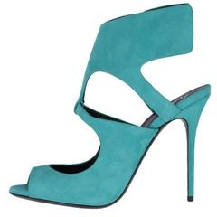 Giuseppe Zanotti New Teal Green Suede Cut Out Evening Sandals Heels in Box