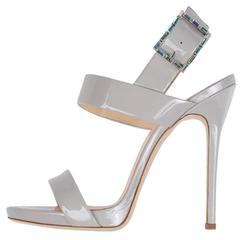 Giuseppe Zanotti New Gray Patent Leather Sandals Heels in Box