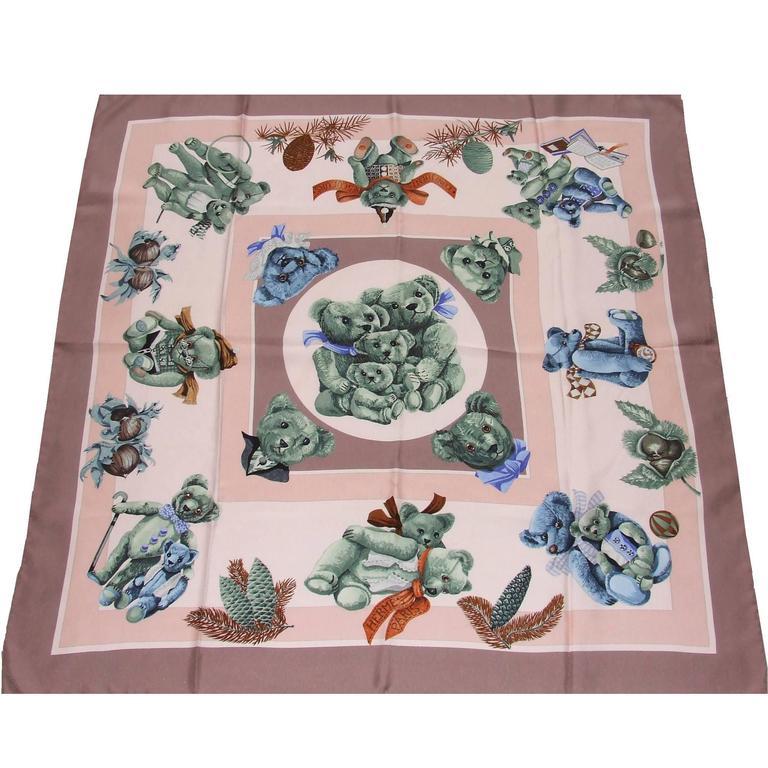 Hermes Silk Scarf Confidents des coeurs Bears Pink Blue 90 cm