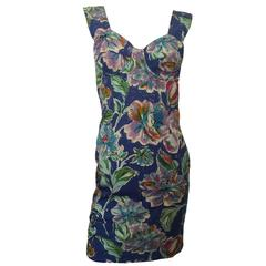 Cacharel 1990s Beautiful Underwired Bust Mini Cotton Floral Dummer Dress Vintage