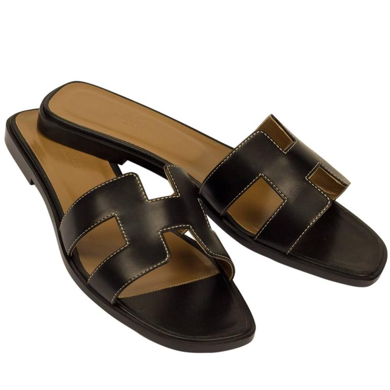 Hermes Woman Sandals Quot Oran Quot Box Leather Black With Ecru Stitching Color 8 Size At 1stdibs