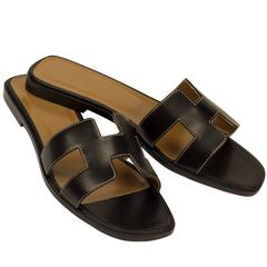 "Hermes Woman Sandals ""Oran"" Box Leather Black with Ecru Stitching Color 8 Size"
