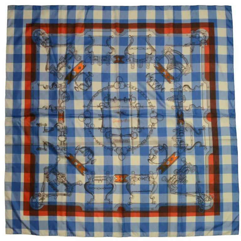 """Hermes Collectors Blue/White/Orange 40"""" Gingham Mors & Gourmettes Scarf 1"""