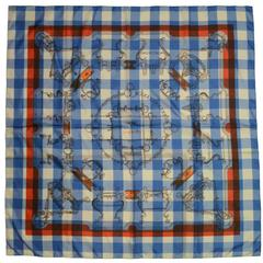 "Hermes Collectors Blue/White/Orange 40"" Gingham Mors & Gourmettes Scarf"