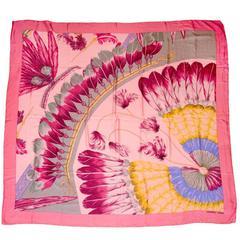 "Hermes Pink Dipdye Feather Print Silk 55"" Shawl Scarf"