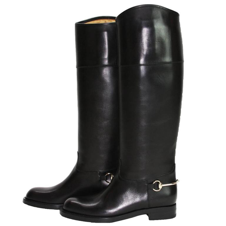 146a8152b New GUCCI Riding Leather Horsebit Detail Tall Flat Black Boots It 36.5 - US  6.5 For