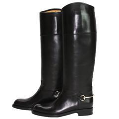 New GUCCI Riding Leather Horsebit Detail Tall Flat Black Boots It 36.5 - US 6.5